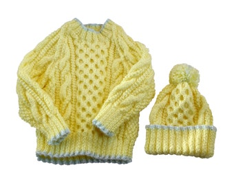 Cable Yellow Sweater and Hat