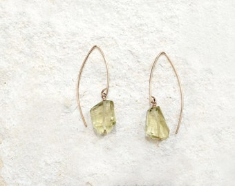 Lemon Citrine Hook Earrings, 14k gold-fill