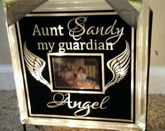 Personalized 8x8 Our guardian angel picture lighted glass block