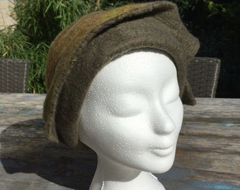 Felted Merino Wool Hat in soft olive green and beautiful fall colors (58)