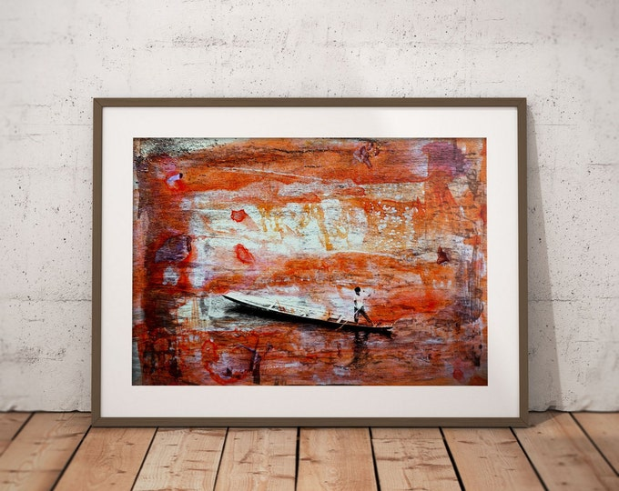 Waterworld VII by Sven Pfrommer - Artwork is ready to hang with a solid wooden frame