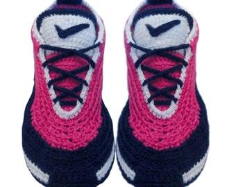 crochet Nike Sneakers, Slippers,  Women slippers, sneakers for women , Crochet  Shoes, Knit Slippers, Men sneakers.