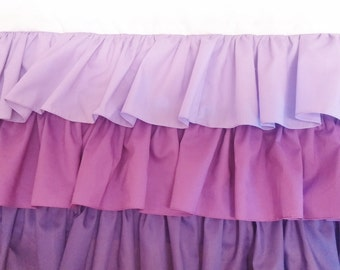 3 Tier Ruffled Crib Skirt Purple Ombre Baby Girl Crib Bedding  FREE SHIPPING