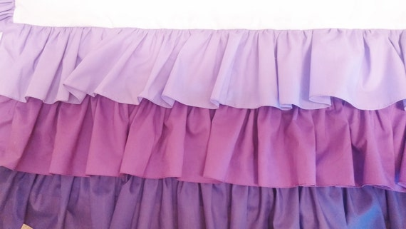 3 Tier Ruffled Crib Skirt Purple Ombre Baby Girl Crib Bedding