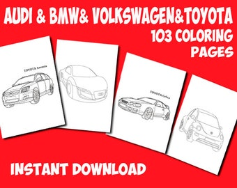 Cars coloring pages printable-Kids coloring page-BMW coloring page-TOYOTA coloring page-Audi coloring page-Volkswagen colouring page