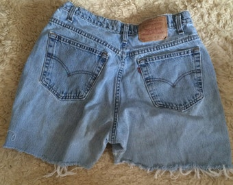 vintage levis cut off jean shorts, perfectly tattered bohemian shorts