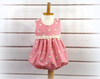 Bubble Sunsuit, Baby Girl, Soft Pink Background, Ducky and Alphabet Print, Size 9 to 12 Months, One of a Kind, Hand Made