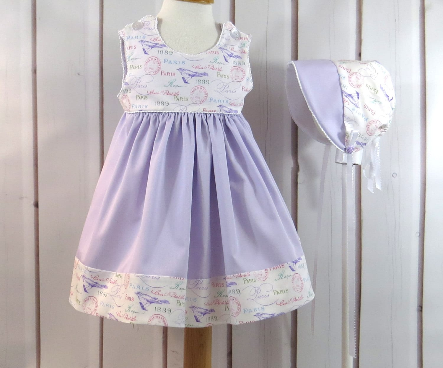 Baby Girl Dress and Bonnet Lavender Pink White Antique