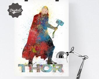 Thor Art. The Avengers Thor Printable Art. Digital Avengers. Thor Watercolor. Nursery decor baby boy