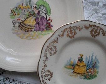 Crinoline lady plates,Regency Crinoline lady plate,Alfred Meakin crinoline lady plate,1930,1940,vintage plates,vintage tea plate,Meakin,old