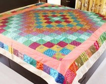 Queen size Reversible Quilt/ Two sided blanket/ Kantha throw/ New Cotton quilt made with Indian Fabrics/ Handmade OOAK quilt/ Rustic quilt
