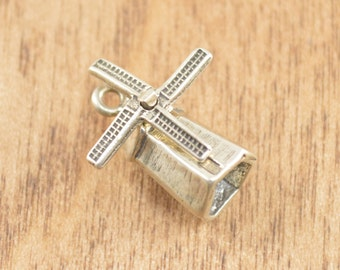 3D Articulated Wind Mill Charm / Pendant Sterling Silver 2.1g Vintage Estate