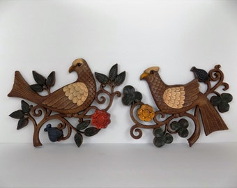 1966 Mid-Century Modern Bird Wall Plaques ~ Syroco Brand Wall Hanging ~ Clover and Flowers