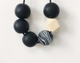 Black Statement Bead Necklace, Geometric Necklace, Minimalist Necklace, Polymer Clay, Chunky Necklace, Boho Necklace, Festival Jewellery