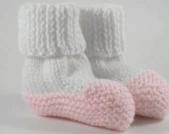 Pink and white Knit Baby Boots - Baby Booties - Knitted boots - Knit baby shoes