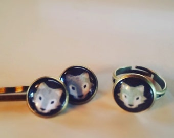 "set ring and barrettes ""Grey Wolf"""