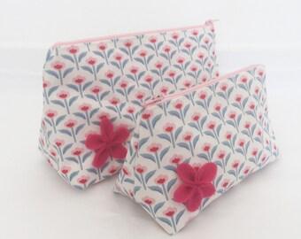 Makeup Bag Set - Retro Pink and Blue Fabric Toiletry Bag Set/ Floral Cosmetic Bag Set
