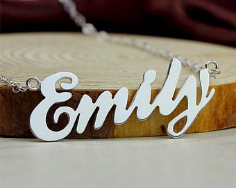 Name necklace, personalized name necklace, ballpark style name necklace, sterling silver name jewelry, custom name plate necklace, gifts