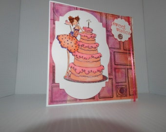 Hand stamped, handcrafted, watercolor, birthday greeting card