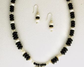 Rose cross necklace, Pewter cross, bead necklace, earrings, Dorabeth