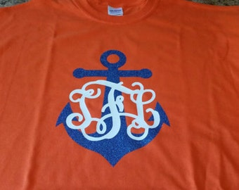 Monogram Nautical anchor tshirt.  Birthday, Christmas, back to school monogram tshirt.  Great for all occasions.
