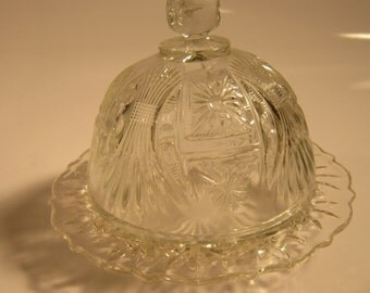 Anchor Hocking Prescut Round Covered Butter Dish