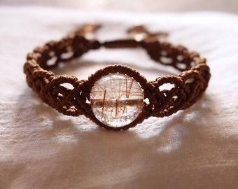 Bracelet natural stone Brown rutile
