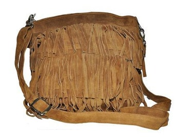 80's Boho Style Suede Fringe Bag (Tan Brown)