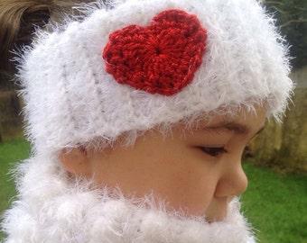Crochet Ear warmer /head band with heart