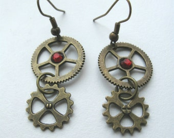 Steampunk earrings Antique bronze Gear earrings Clockwork earrings Steampunk gear earrings Engineer gift Steampunk gift