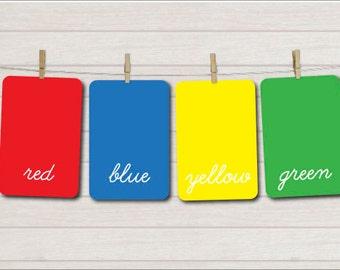Color Fash Cards, Printable cards, Kids education cards, Kindergarten, Learning flash cards, Preschool cards, Printable games