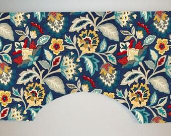 Waverly Katia Adriatic Custom Valance Curtain, Deep Blue Jacobean Floral, Lined