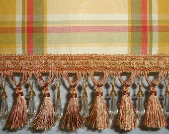 Yellow Plaid Moire Window Valance
