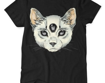 Three Eyed Cat - Satanic Cat - Tshirt - Black - S M L XL XXL XXXL