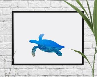 Sea Turtle Print, Nautical Print, Animal, Room Decor, Ocean, Wildlife, Minimalist, Poster, Child Baby Nursery A3 A2 11x14 12x18 16x20
