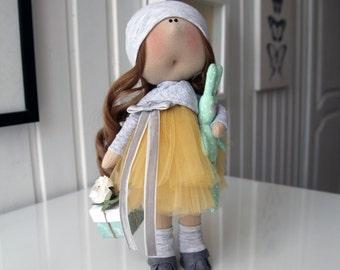 "Textile doll ""Girl with rabbit"". Interior doll, handmade"
