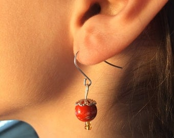 Orange Japenese-Style Dangling Earring