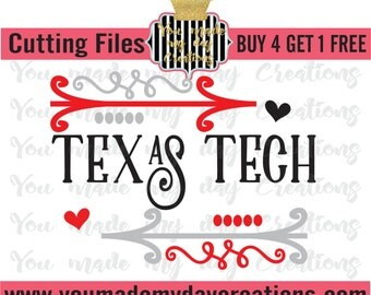 Buy 4 Get 1 Free***  Texas Tech SVG, png dxf, & eps Cutting Files Arrows Hearts Dots Sport Baseball Football sports Team