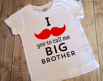 Big Brother Shirt - Pregnancy Announcement Shirt - Future Big Brother Shirt - Pregnancy Reveal - I Mustache You To Call Me Big Brother