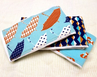Baby Burp Cloths - set of 3; Navy, Orange and Teal; Foxes, Umbrellas and Geometric