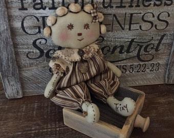 Primitive Handmade  Little Trixy Rag Doll