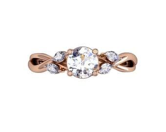 Rose Gold Vine Marquise Engagement Ring, Rose Gold Engagement Ring, Diamond Engagemet Ring, Unique Engagement Ring, Solid Gold Jewelry