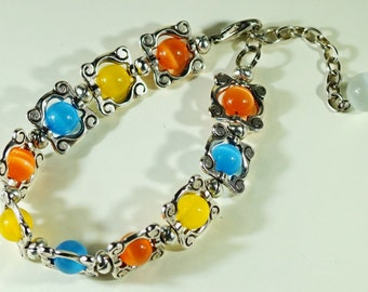 Bracelet from natural stones of a cat's eye good luck Squares