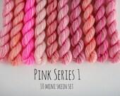 10 Sock Mini Skein Set- 20 yards each- Pink Series 1