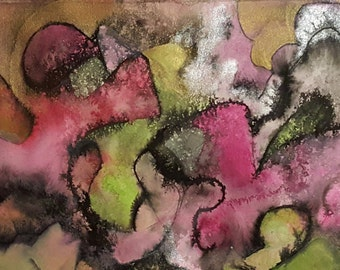 untitled 6, original painting on paper, abstract, mixed media,