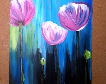 Flowers; Acrylic Painting; Abstract Painting; Modern Art; Original Painting; Original Art; Acrylic Painting on Paper