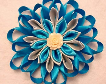 Kanzashi Style Flower Hair Clip, Girls Hair Accessory, Blue And Grey, Hair Bow, Handmade