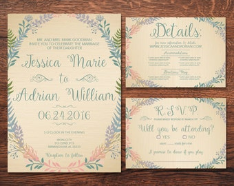 Printable Wedding Invitation Template Suite - Customizable - Muted Spring Flower Greenery MultiColor Wedding Invite Set