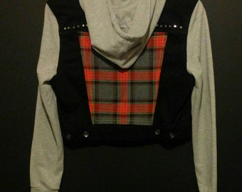 Black Denim Jacket with Grey Cotton Hood and Sleeves and Tartan Back Patch