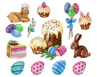 Easter Clipart - Watercolor Style - Bunny, Easter Eggs - Commercial Use Ok - PNG